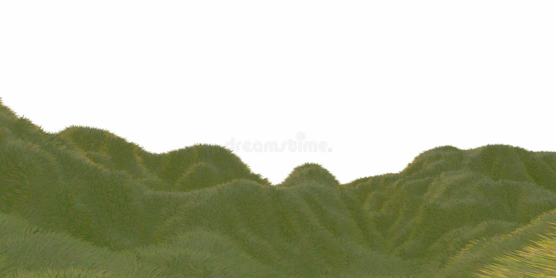 Groene die grasheuvels door warm zonlicht met de witte lucht hoogste mening als achtergrond van hommel of vliegtuig worden aanges stock illustratie