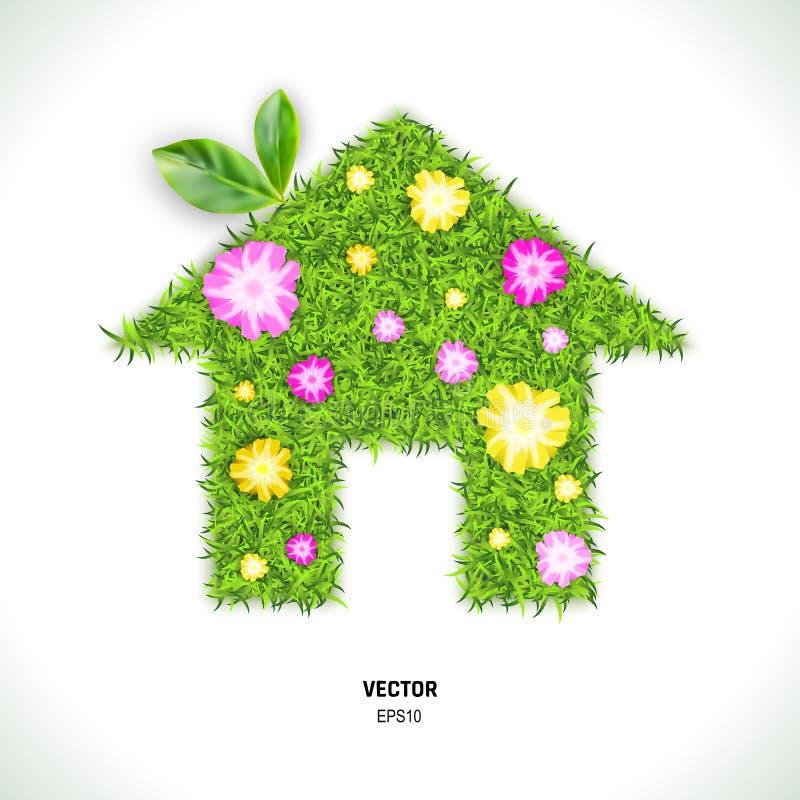 Groene die Grashuis en Bloemen op Witte Achtergrond wordt geïsoleerd vector illustratie