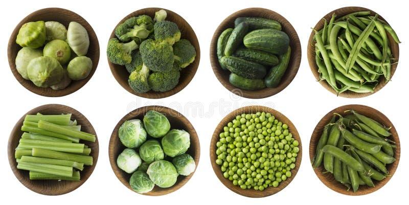 Groene die groenten op een wit worden geïsoleerd Reeks groene vegetablees op een witte achtergrond Hoogste mening Broccoli, groen stock afbeeldingen
