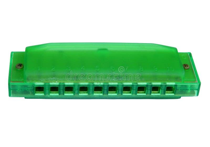 Groene die harmonika, op witte achtergrond wordt geïsoleerd royalty-vrije stock afbeelding