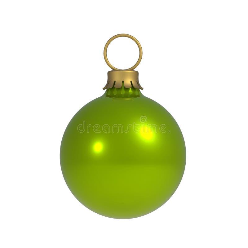Groene die Kerstmisbal op Witte Achtergrond wordt geïsoleerd stock illustratie