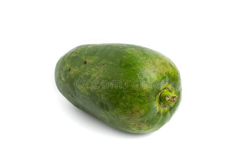 Groene die Papaja op een Witte achtergrond wordt ge?soleerd stock afbeeldingen