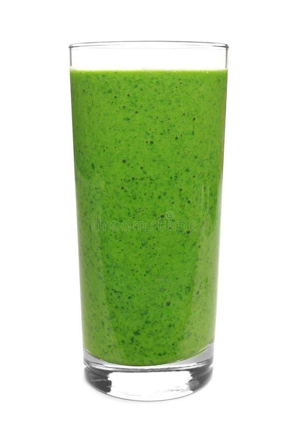 Groene die smoothie op wit wordt geïsoleerd royalty-vrije stock afbeeldingen