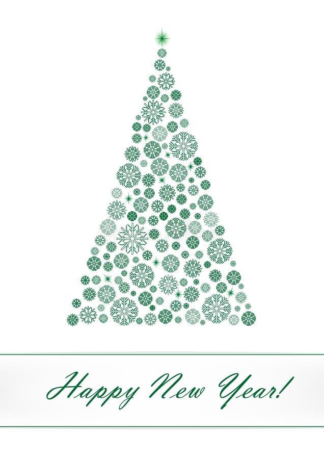 Groene die sneeuwvlokkerstboom op de witte achtergrond wordt geïsoleerd vector illustratie