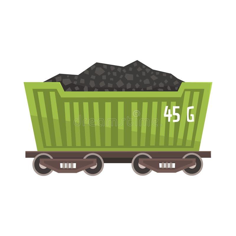 Groene die spoorwagon met steenkool wordt geladen Kleurrijke beeldverhaalillustratie vector illustratie