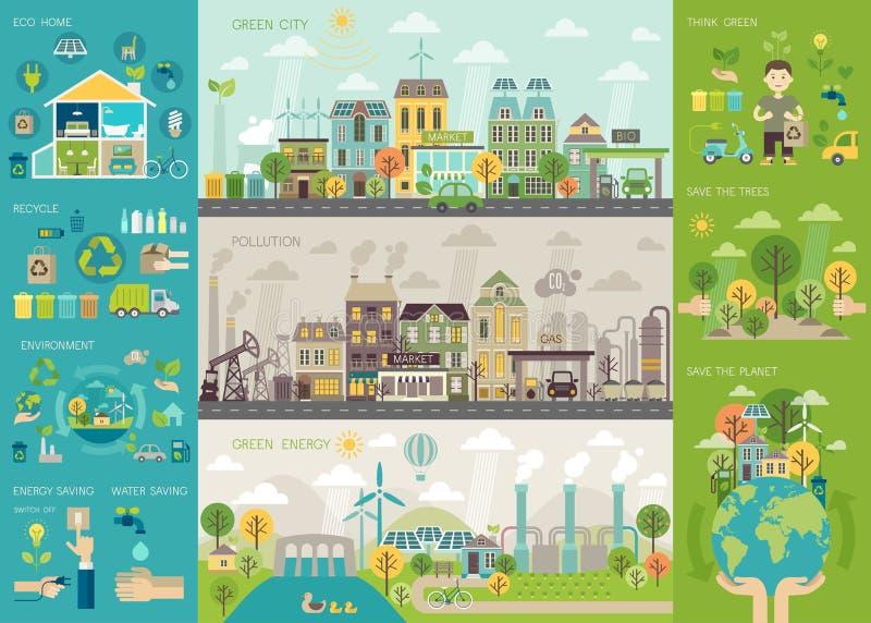 Groene die stad Infographic met grafieken en andere elementen wordt geplaatst stock illustratie