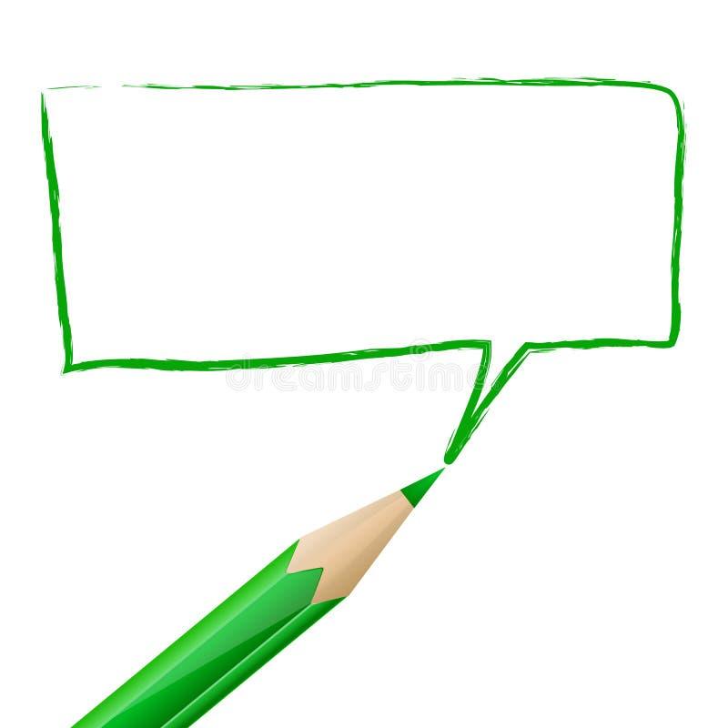 Groene die toespraakbel met potlood wordt getrokken stock illustratie