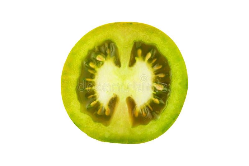 Groene die tomatenplak op witte achtergrond, hoogste mening wordt geïsoleerd Verse eigengemaakte groenten Groeiende tomaten Voorb royalty-vrije stock afbeelding
