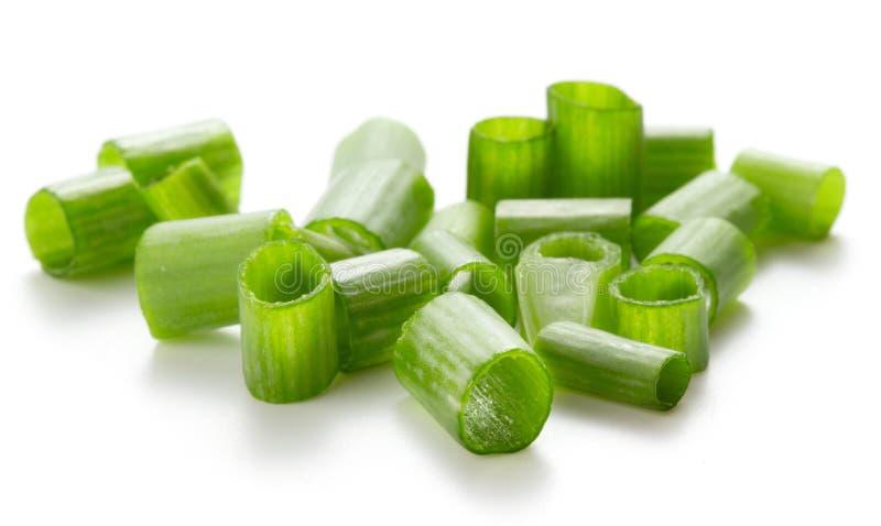 Groene die ui op wit wordt ge?soleerd stock afbeelding