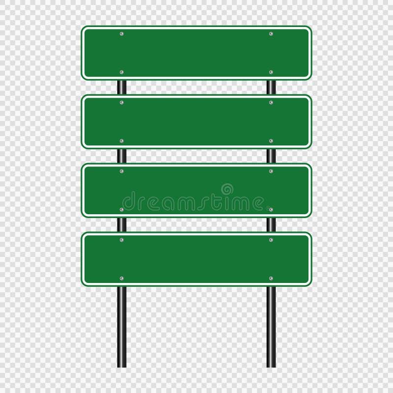 Groene die verkeersteken, de tekens van de Wegraad op transparante achtergrond worden geïsoleerd Vector illustratie Eps 10 royalty-vrije illustratie