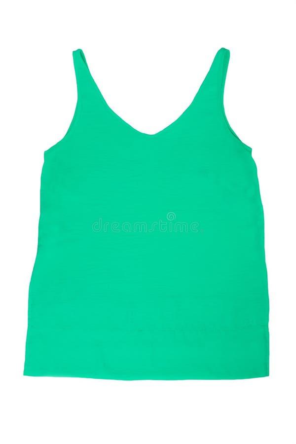 Groene die vrouwenoverhemd of t-shirt op witte achtergrond wordt geïsoleerd royalty-vrije stock fotografie