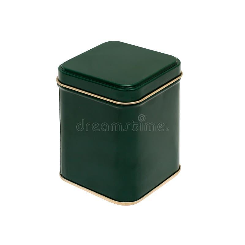 Groene doos met een gouden streep stock foto
