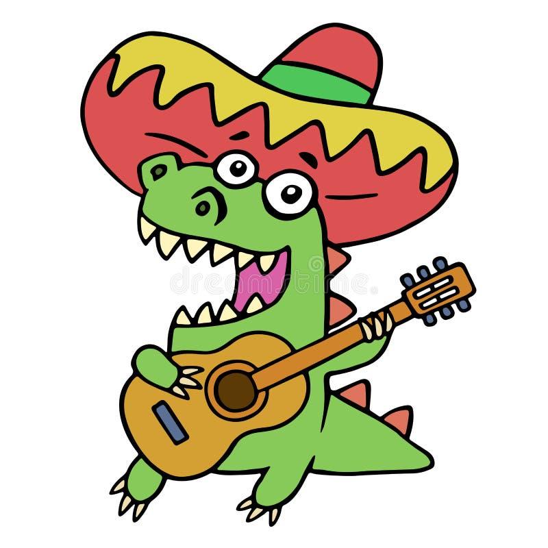 Groene draak in Mexicaanse hoed en met gitaar op witte achtergrond stock illustratie