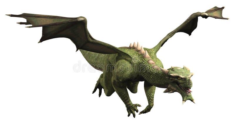 Groene Draak tijdens de vlucht stock illustratie