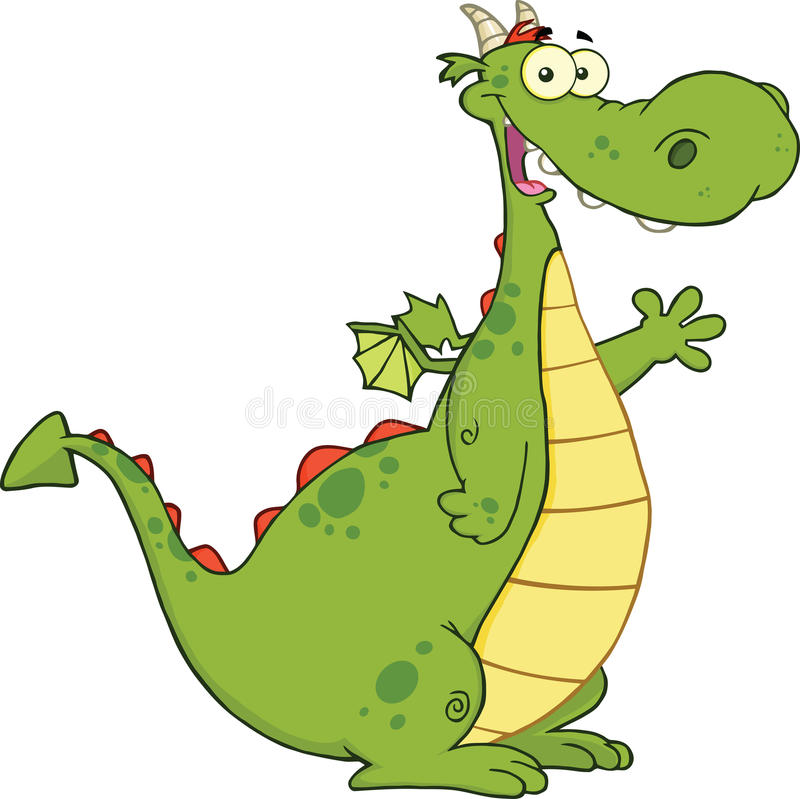 Groene Dragon Cartoon Character Waving For-Groet stock illustratie