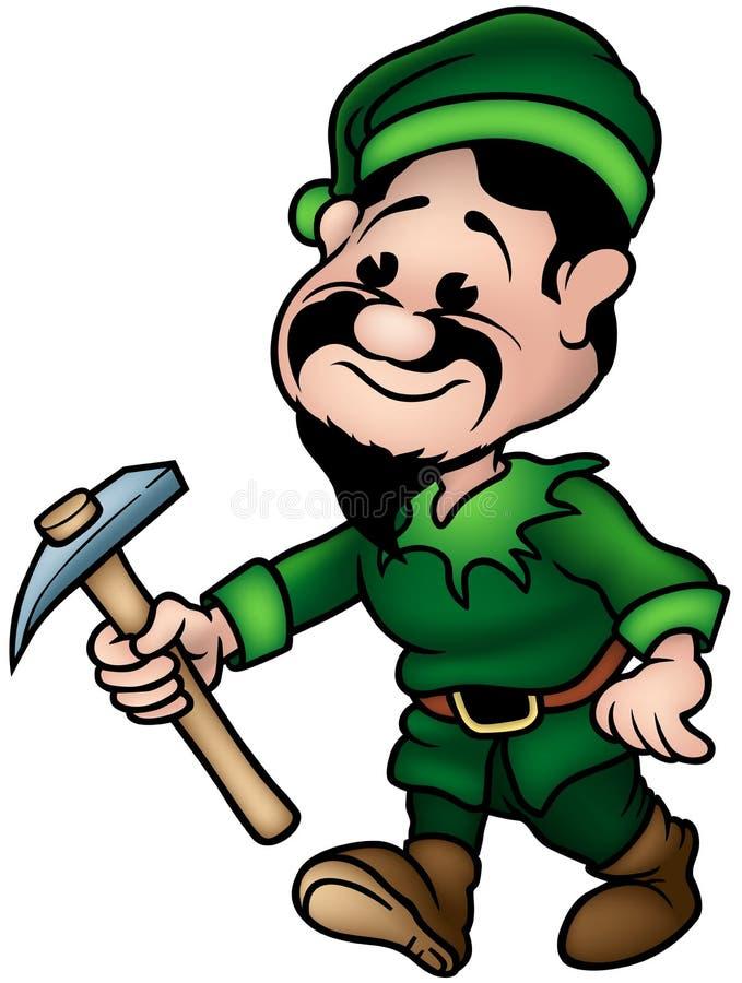 Groene Dwerg - de Mijnwerker van het Elf vector illustratie