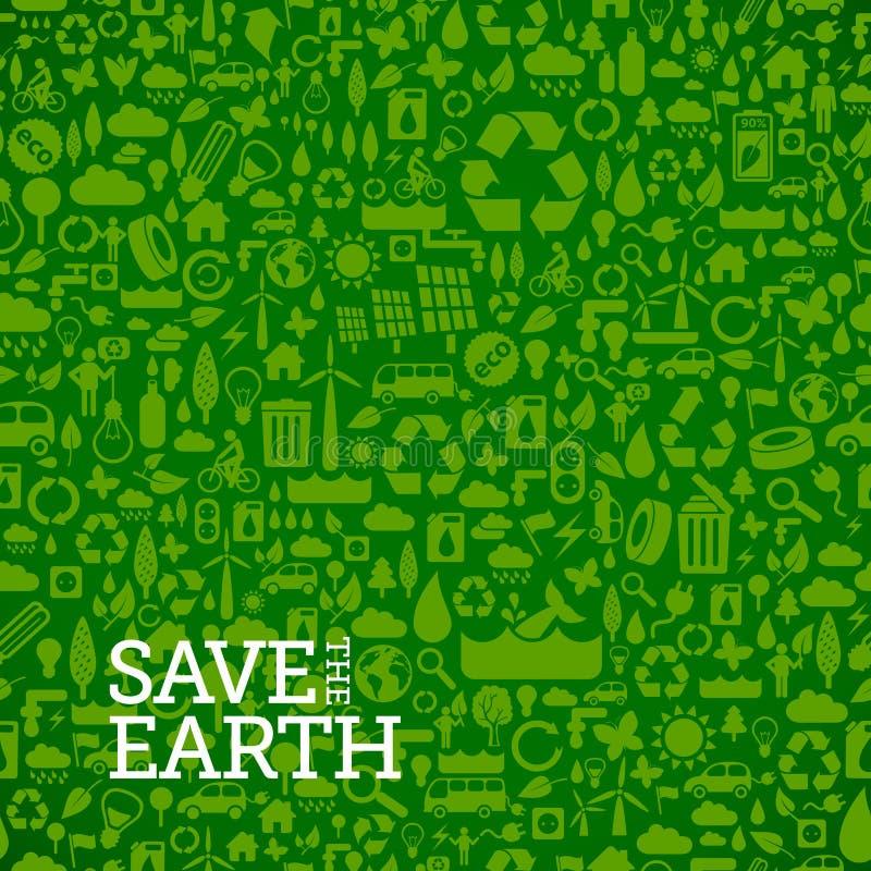 Groene eco naadloze die achtergrond van kleine ecologiepictogrammen wordt gemaakt royalty-vrije illustratie