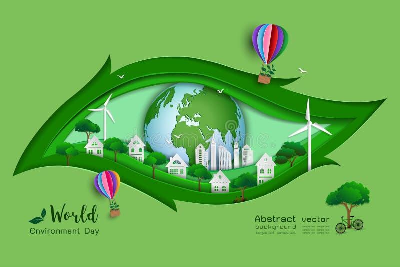 Groene eco vriendschappelijk sparen het wereld en milieuconcept, document kunst en ambachtontwerp met bladvorm royalty-vrije illustratie