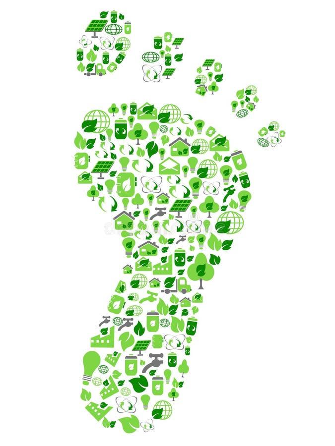 Groene eco vriendschappelijke die voetafdruk met ecologiepictogrammen wordt gevuld royalty-vrije illustratie