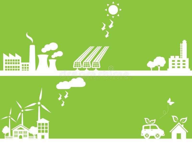Groene eco vriendschappelijke stad royalty-vrije illustratie