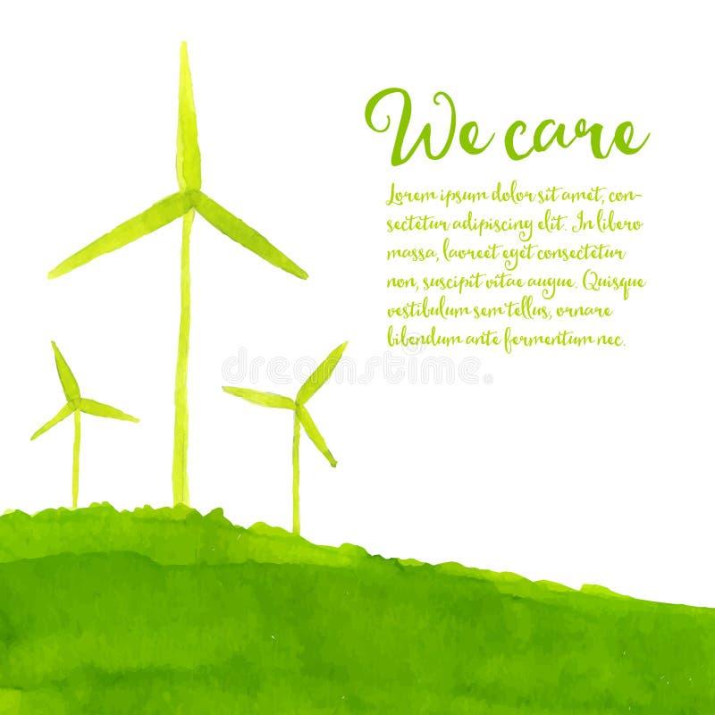 Groene ecoachtergrond met hand geschilderde wind royalty-vrije illustratie