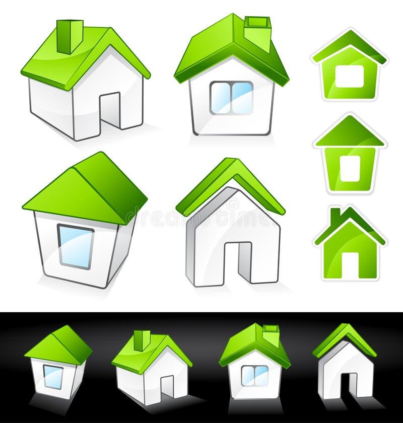 Groene ecohuizen stock illustratie