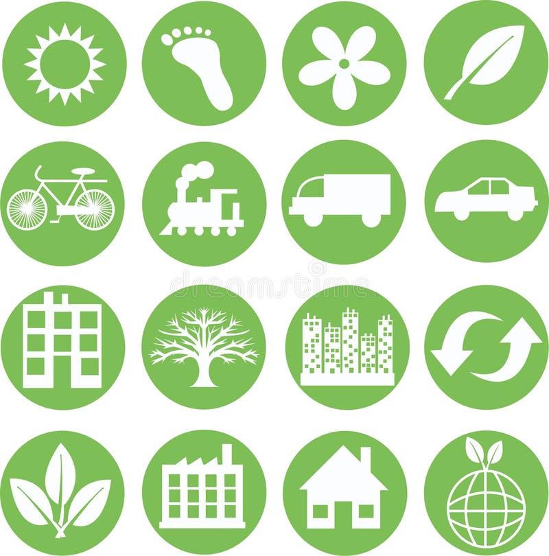 Groene ecologiepictogrammen stock illustratie