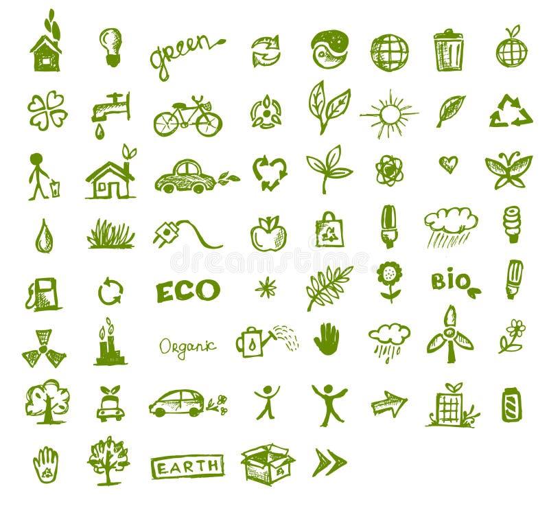 Groene ecologiepictogrammen voor uw ontwerp royalty-vrije illustratie