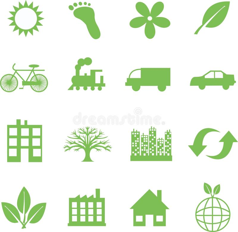 Groene ecologiesymbolen stock illustratie
