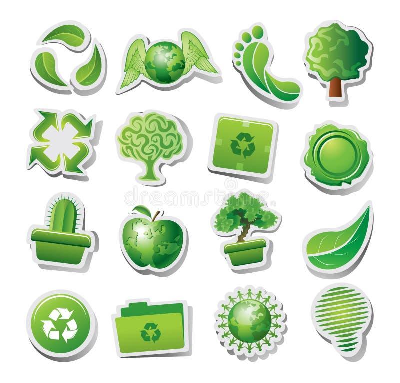 Groene ecologische pictogrammen vector illustratie