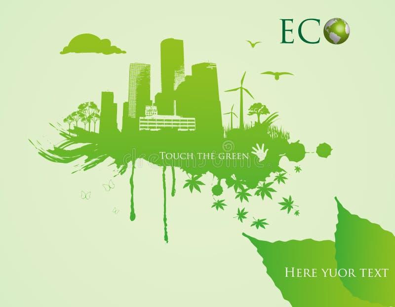 Groene ecostad - abstracte ecologiestad stock illustratie