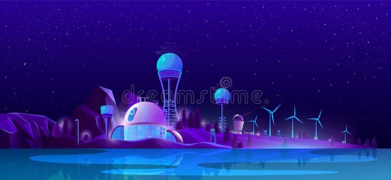 Groene ecostad, alternatieve schone energie, ecologie vector illustratie