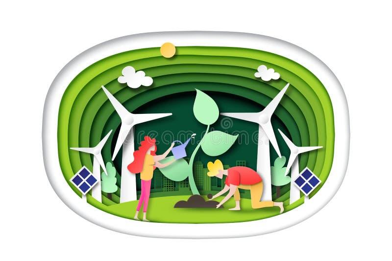 Groene ecostad en schone energie op groene van het achtergrond laagmalplaatje document kunststijl stock illustratie