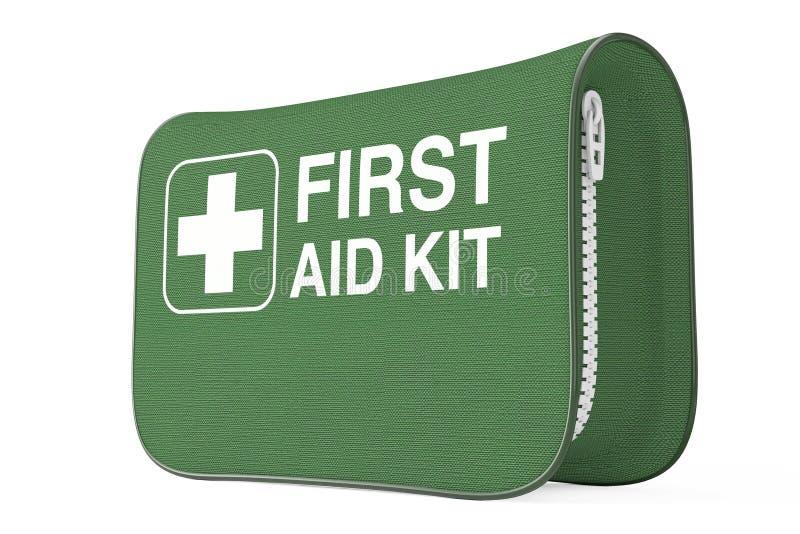 Groene Eerste hulp Kit Soft Bag met Wit Kruis het 3d teruggeven vector illustratie