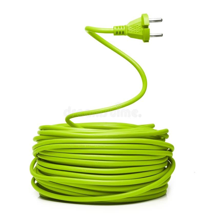 Groene elektrische kabel stock afbeeldingen