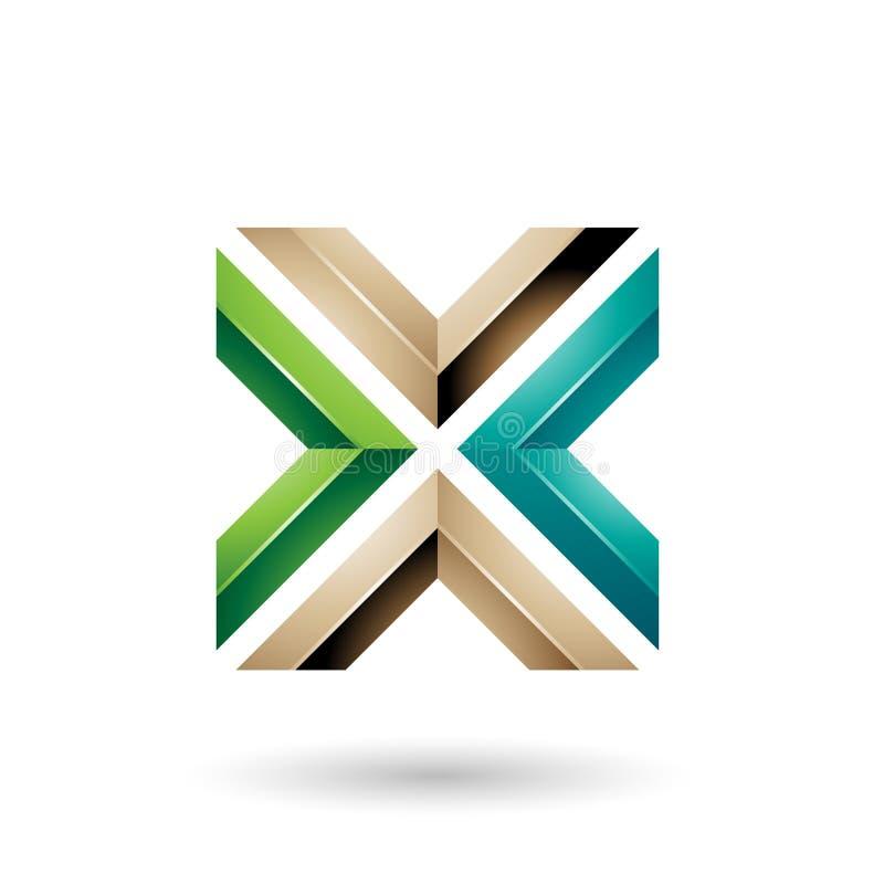 Groene en Beige Vierkante Gevormde Brief X Vectorillustratie stock illustratie