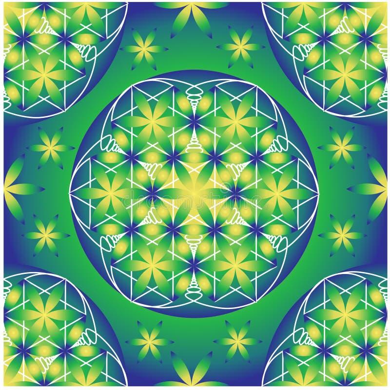 Groene en blauwe bloem van het levens naadloos vectorpatroon stock illustratie