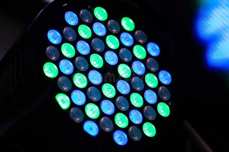 Groene en blauwe lichtgevende dioden die discomateriaal aansteken royalty-vrije stock fotografie