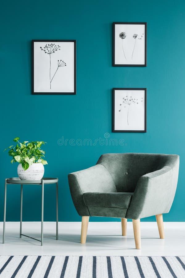 Groene en blauwe minimale ruimte royalty-vrije stock fotografie