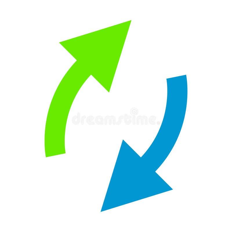 Groene en blauwe pijlen op wit stock foto