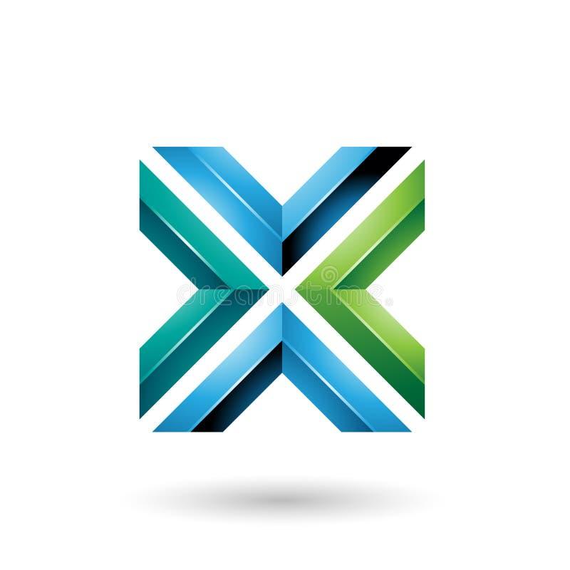 Groene en Blauwe Vierkante Gevormde Brief X Vectorillustratie royalty-vrije illustratie