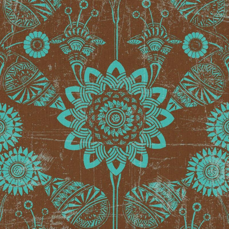 Groene en bruine bloemenachtergrond royalty-vrije illustratie