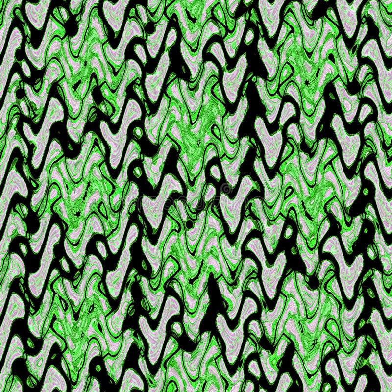 Groene en donkere zigzagelementen op ononderbroken patroon met gebreid effect stock illustratie