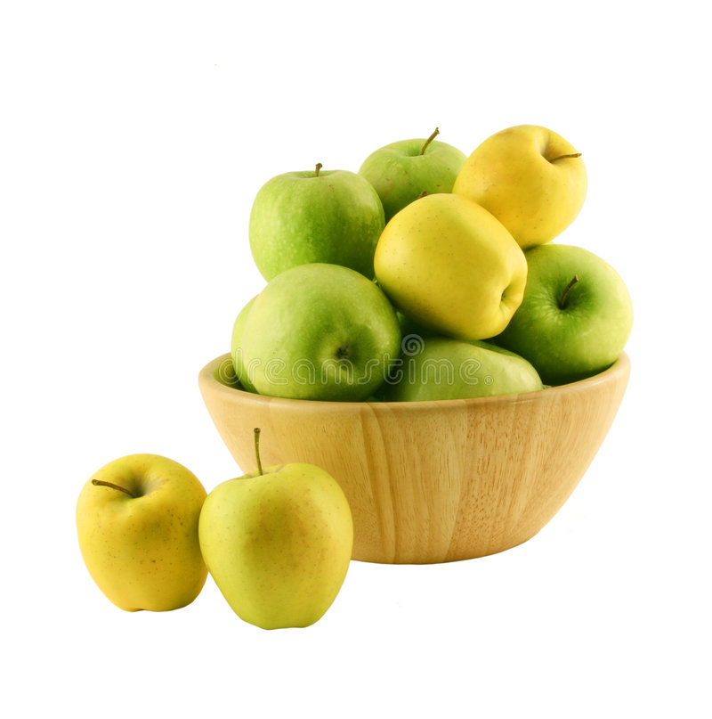 Groene en gele appelen in w royalty-vrije stock fotografie