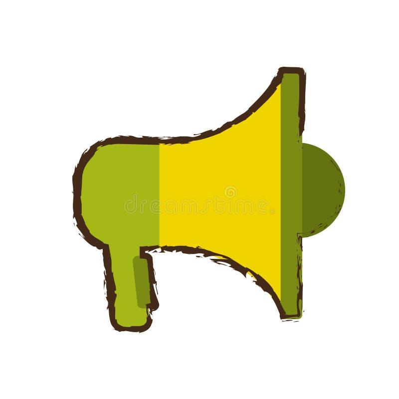 Groene en gele megafoon die online schets op de markt brengen vector illustratie