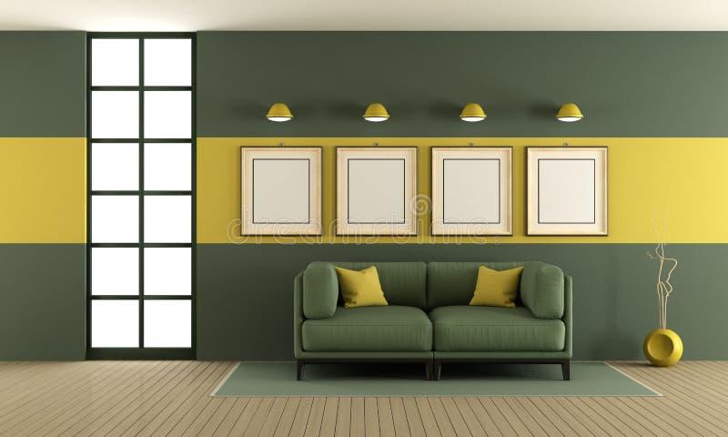 Groene en gele woonkamer vector illustratie