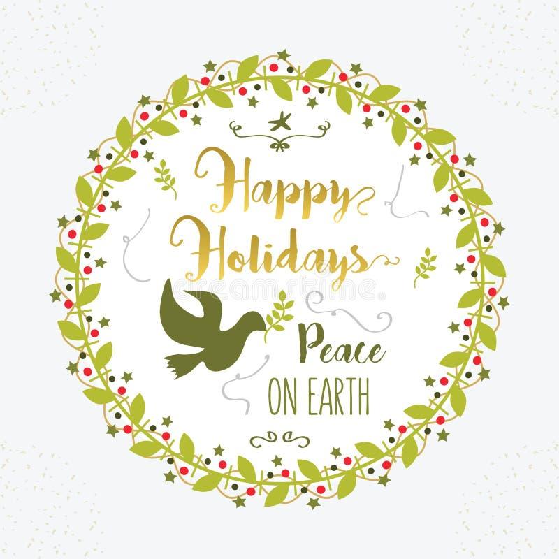 Groene en gouden Gelukkige Vakantie en Vrede op embleem van de Aarde het bloemencirkel stock illustratie