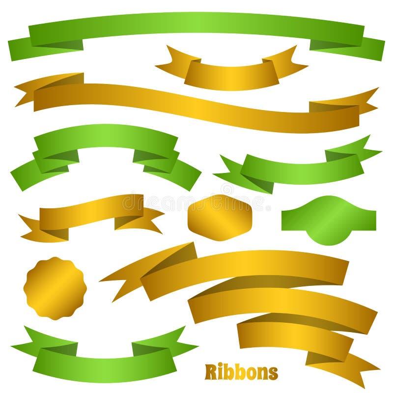 Groene en gouden lintbanners royalty-vrije illustratie