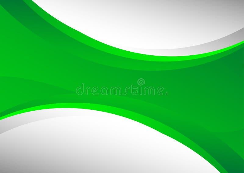 Groene en grijze abstracte golvenvector als achtergrond en exemplaarruimte stock illustratie