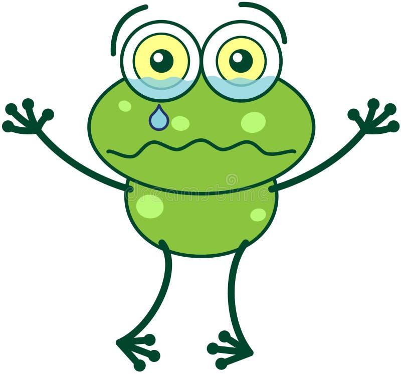Groene en kikker die droevig schreeuwen voelen stock illustratie